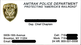 amtrak police department foil business card sample - Police Business Cards