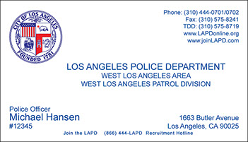Los angeles police department business cards gallery card design fc ri bc info atlanta police department full color raised ink business card la city style reheart Images