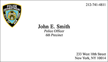 raised ink - Police Business Cards