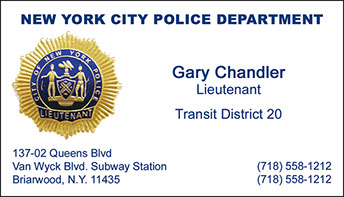 Foil bc info new york city police department foil business card sample lieutenant reheart Images