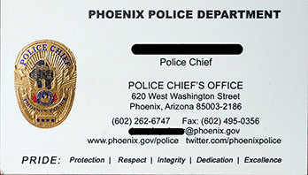 phoenix police department foil business card for police chief - Police Business Cards